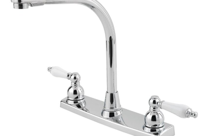 Pfister G136-1000 Pfirst Series Two Porcelain Lever Handle 3-Hole Lead Free Kitchen Faucet