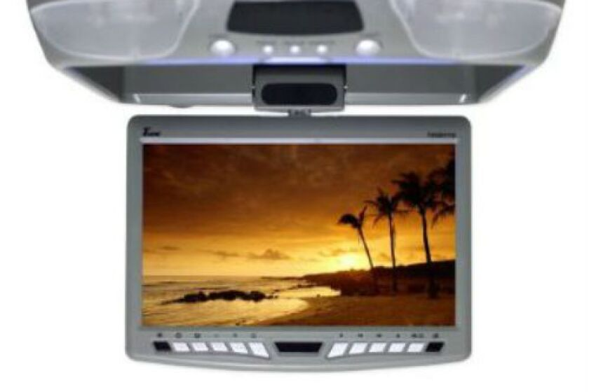 "Tview 9"" Flip Down Monitor with Built-in DVD Player, T90DVFD-GR"