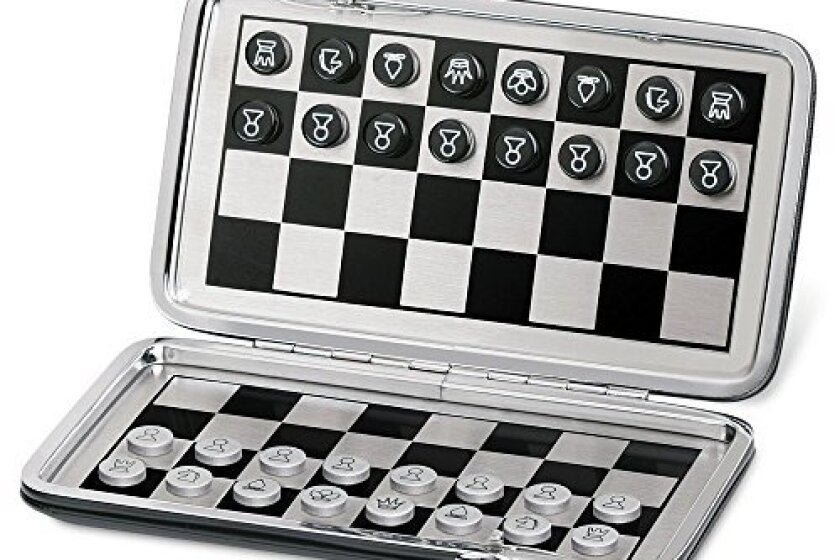 """Christine 7"""" Pocket Travel Magnetic Chess and Checkers Board Game Set"""