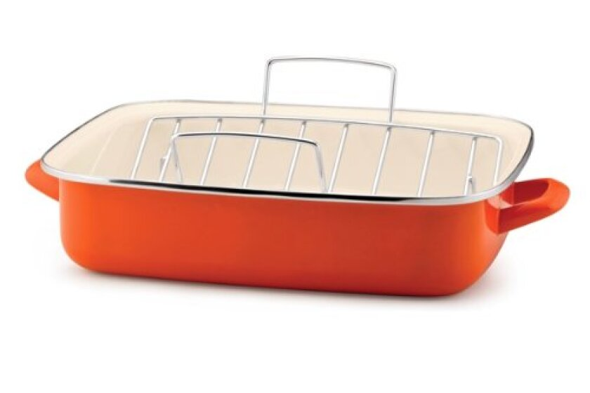 Rachael Ray Enamel on Steel Roaster with V-Shape Rack