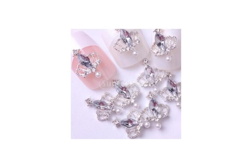 best Suntekstore Silver Tiara Crown Large Clear Rhinestone Nail Art Accessories