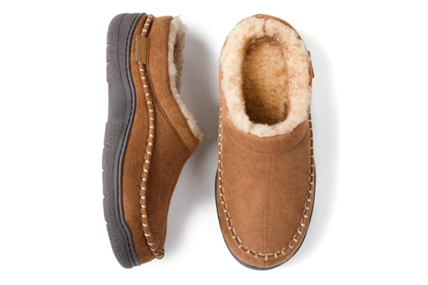 Zigzagger Men's Fuzzy Microsuede Moccasin Style Slippers