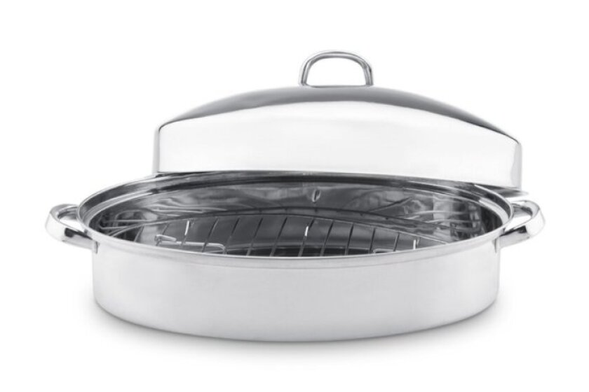 Vinaroz Stainless Steel Oval Roaster with Rack and High Lid
