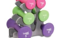 Tone Fitness 20-Pound Hourglass Shaped Dumbbell Set with Rack