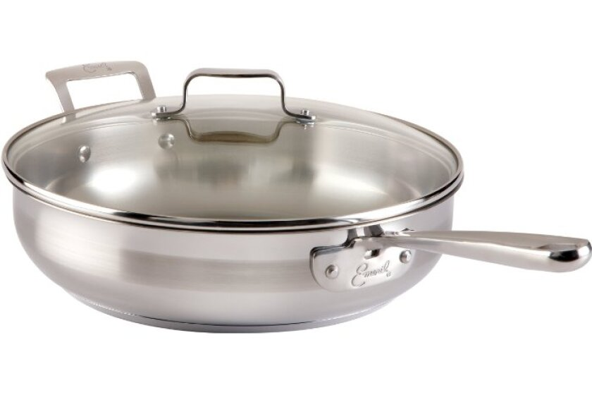 Emeril Stainless Steel Dishwasher Safe Saute/Fry Pan Cookware, Silver