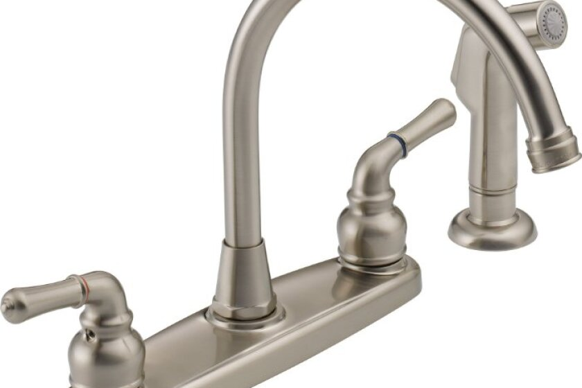 Peerless WAS01XNS Two Handle Kitchen Faucet and Sidespray