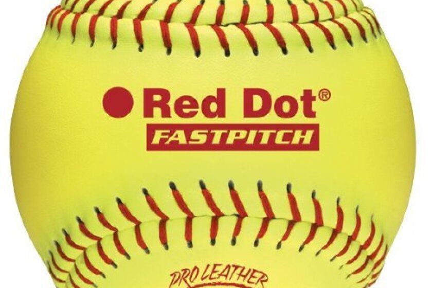 "Worth Fastpitch Red Dot 12"" Leather Ball"