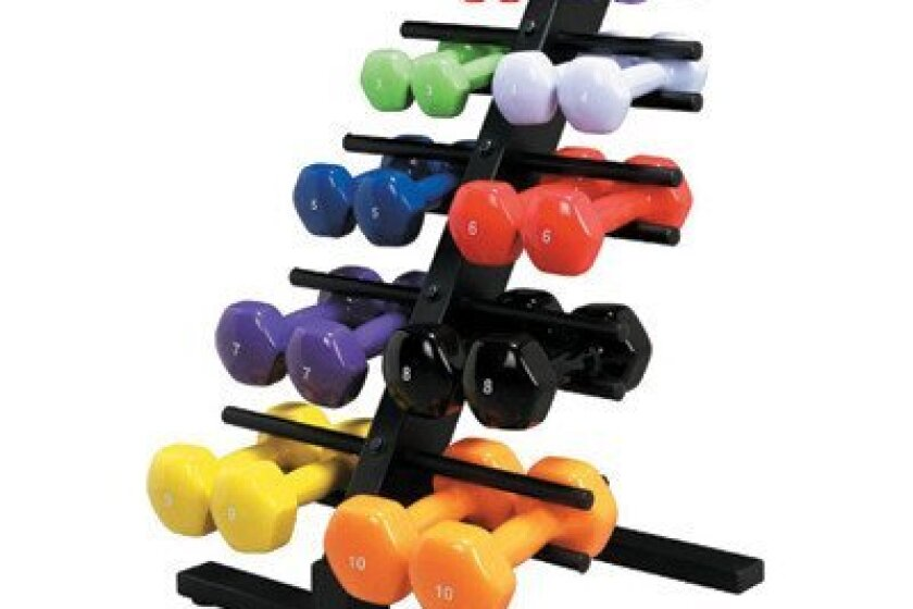 Cando Vinyl Coated Dumbbell 20 Piece Set with Rack