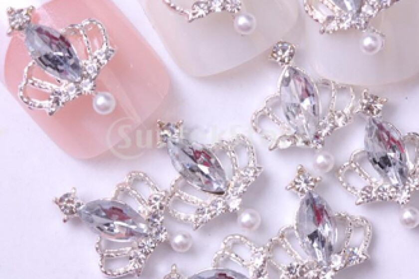 Suntekstore Silver Tiara Crown Large Clear Rhinestone Nail Art Accessories
