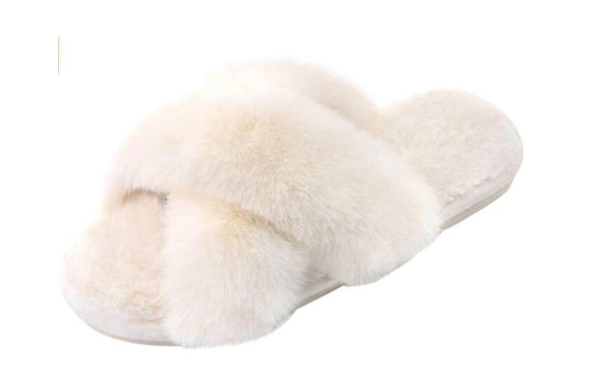 best cross band fluffy slippers