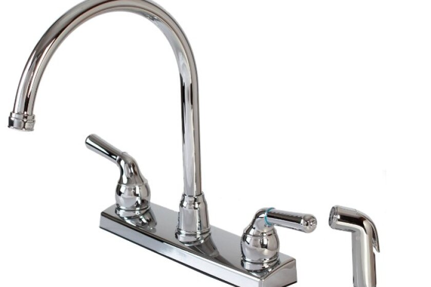 Hardware House 122009 2-Handle Non-Metallic Kitchen Faucet with External Matching Spray
