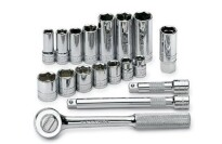 "SK 18 Piece 3/8"" Drive 6 Point Standard and Deep Fractional Socket Set"