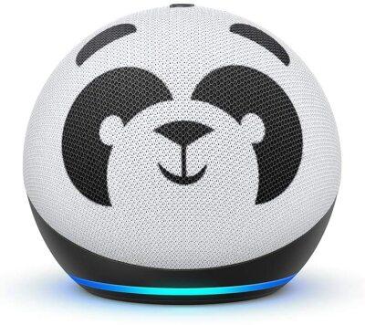 Rounded Amazon Echo with panda desgin