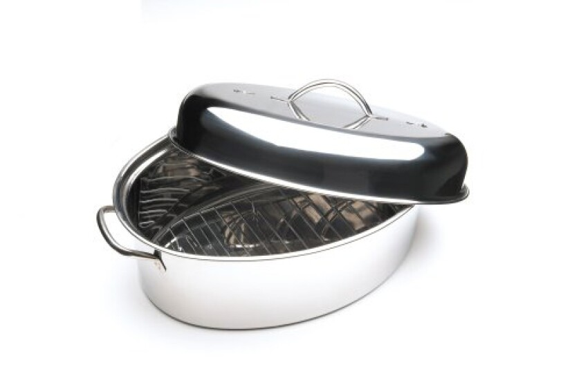 Fox Run Stainless Steel Oval Roaster With Rack And High Domed Lid