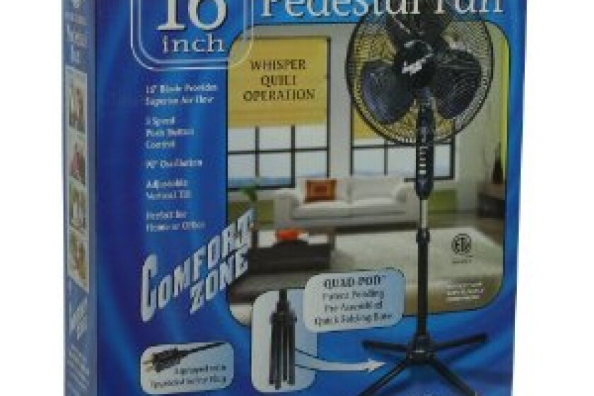 "Comfort Zone 16"" Oscillating Pedestal Fan Model CZST161EB"