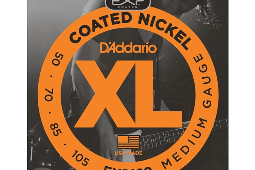 D'Addario EXP160 Bass Strings - Coated Nickel Round Wound, Medium, 1 set