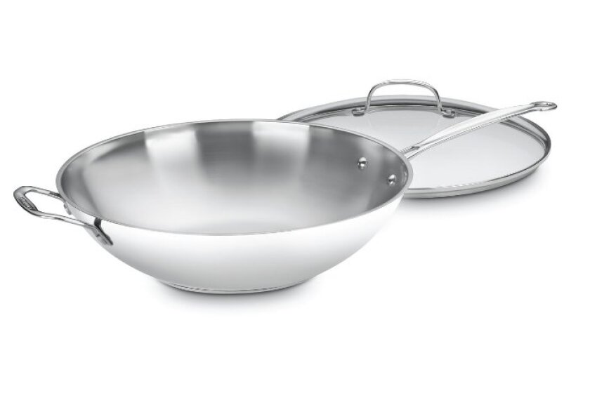 Cuisinart 726-38H Chef's Classic Stainless 14-Inch Stir-Fry Pan with Helper Handle and Glass Cover