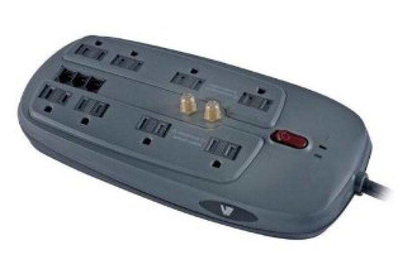 V7 SA0806B-8N6 8 Outlet 1800 Joules Surge Protector