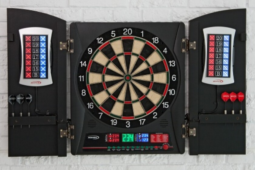 Regent-Halex Cricketview 2DX Electronic Dartboard In Wood Cabinet