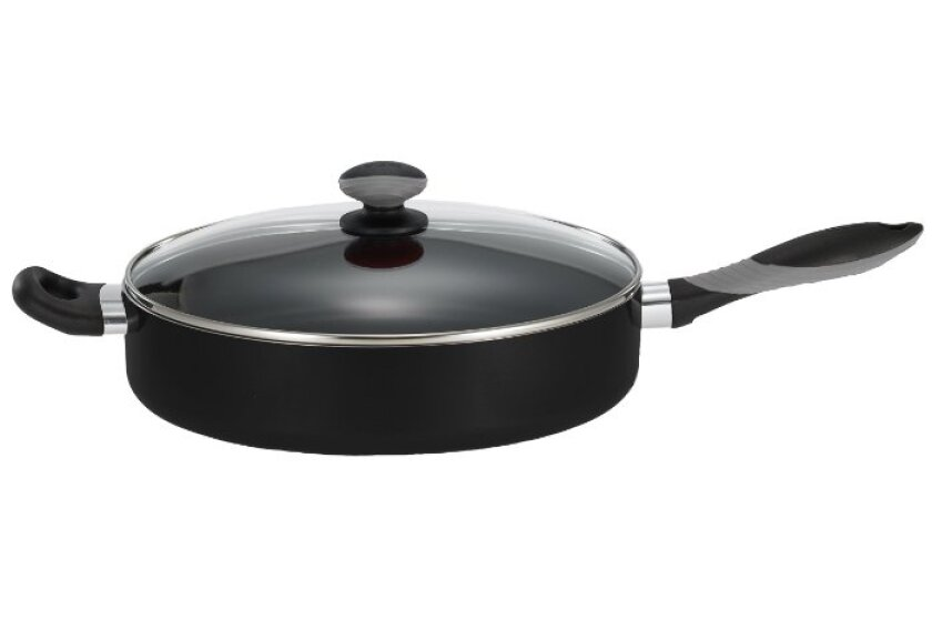 Mirro Get A Grip Aluminum Nonstick 12-Inch Jumbo Cooker Deep Fry Pan / Saute Pan with Glass Lid Cover