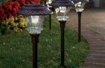 Steel and Glass Encased Solar LED Path Lights, Set of 4