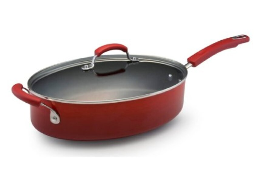 Rachael Ray Porcelain Enamel II Nonstick Covered Oval Saute with Helper Handle, 5-Quart